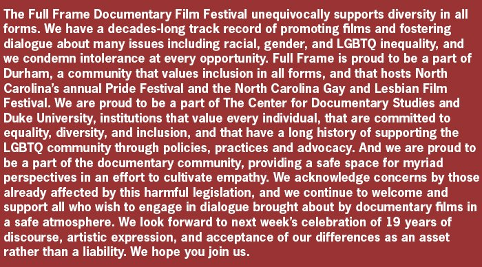 Full Frame releases statement on HB2. #WeAreNotThis #fullframefest https://t.co/qHehgzjshW