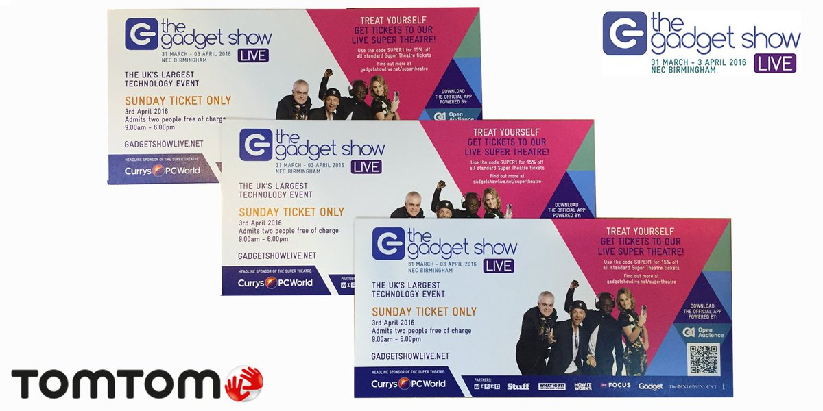 TomTom is at @GadgetShowLive! RT if you'd like to #win tickets to Sunday's show. #Comp ends at 6pm. #GSL16 #gadget https://t.co/iClgbletoj