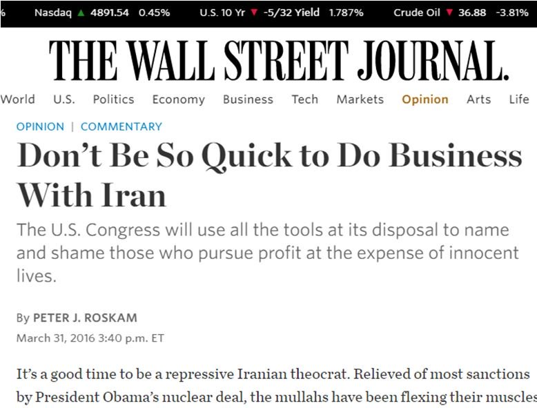 The Islamic Republic is not open for business. Read my @WSJ Op-Ed: https://t.co/HfhjplOMFh https://t.co/cZlwGAPwkT