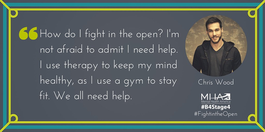 """We asked @ChristophrWood, """"Why do YOU #FightintheOpen?"""" Here's what he had to say. #B4Stage4 #mentalhealth https://t.co/QiQdNkvvBX"""