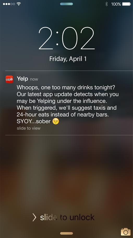 When you get a notification at 2 am on a Thursday and you're still at the bars... thanks @Yelp #CaughtIntheAct https://t.co/yVOcS5y92c
