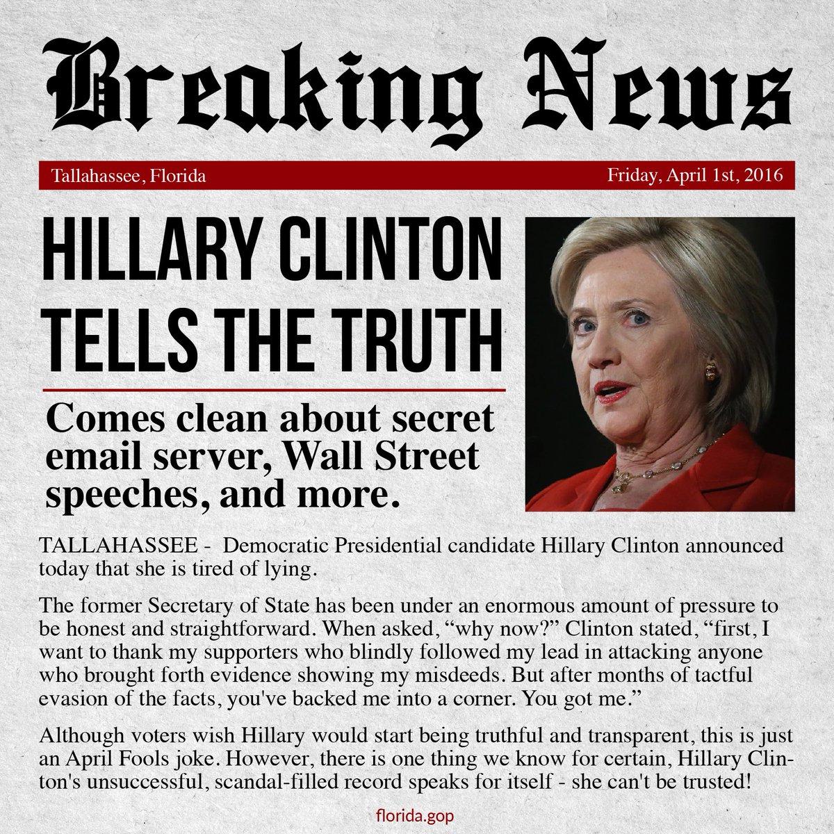 BREAKING NEWS: @HillaryClinton tells the truth! #sayfie https://t.co/XRJ7PtgzSU