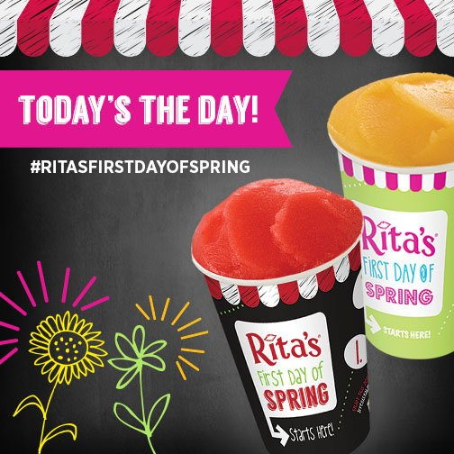 TODAY! #RitasFirstDayofSpring #FREE Italian Ice Giveaway 12pm-9pm! Find your Rita's here: https://t.co/t5FwOy7lDC https://t.co/bxb4l1Mr6Y