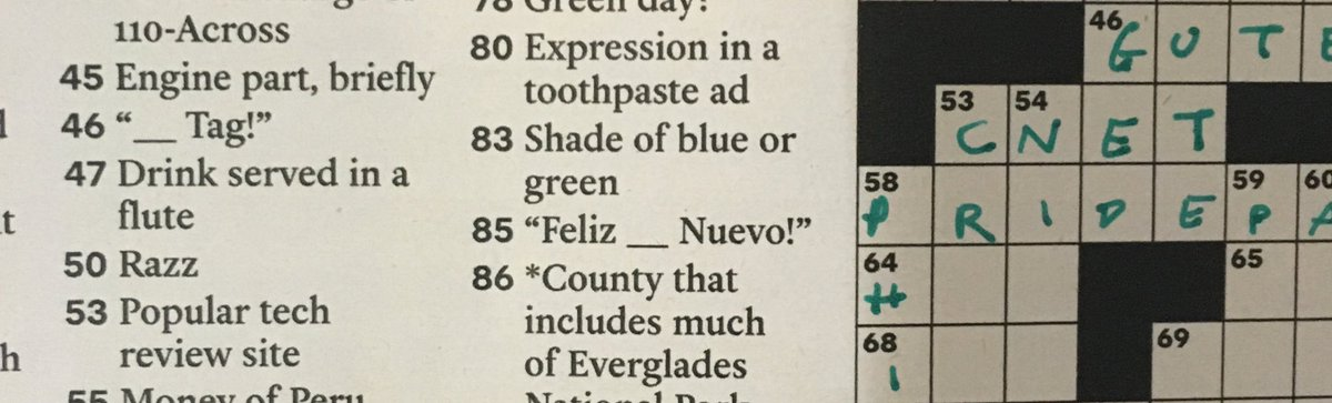 Check out 53across in today's @nytimes #crossword!!! Pretty proud to see that! Cc @CNET https://t.co/mZPZnzpTde