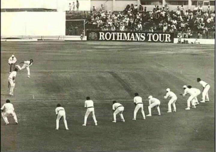 The legendary #DennisLillie bowling with 9 Slips against New Zealand. Amazing !!! https://t.co/QhHnHhD9K8