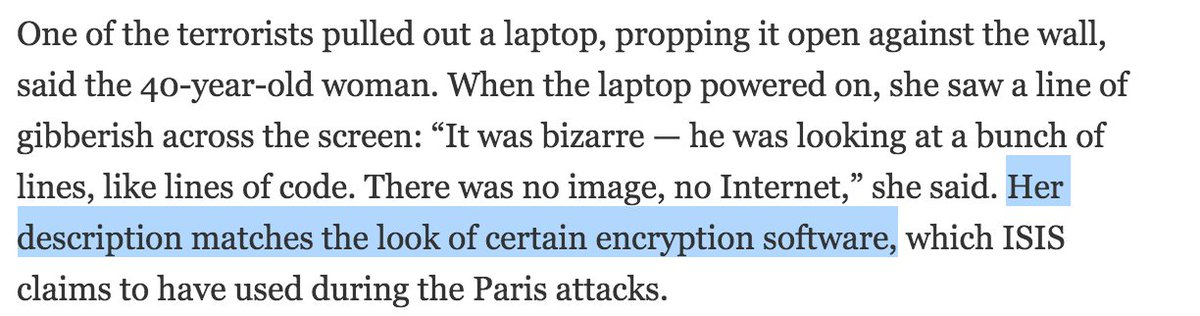 NYTimes also lets slide a observation that leads to a pretty iffy assumption about attackers using encryption: https://t.co/tBMeqOC5Ft