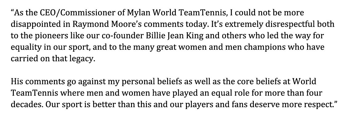 Statement from Mylan WTT CEO/Commissioner Ilana Kloss regarding Raymond Moore's comments in Indian Wells today: https://t.co/PTo4Os8P2a
