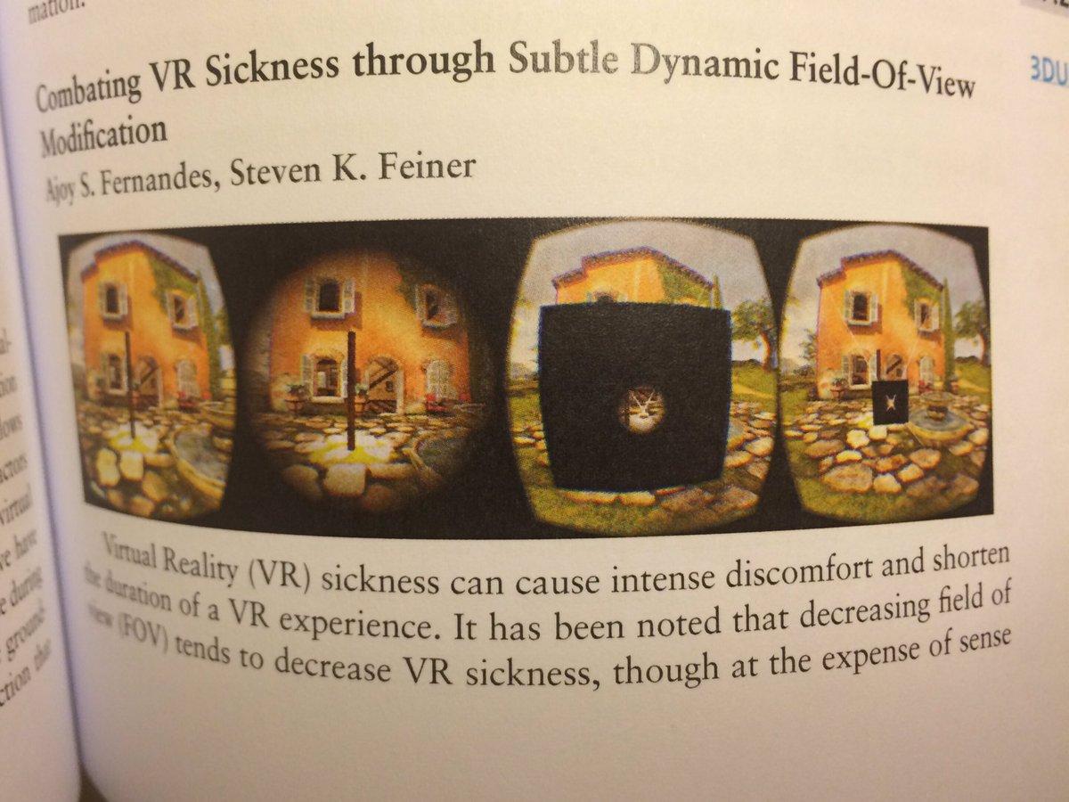 ちなみに国際学会3DUIに参加してるのですが、最近界隈で話題の、没入型VRでも移動スピードに合わせて視野角狭くすれば酔わない、ってやつ、Feiner先生が精緻に検証しててBest Paperとってました。ぜひペーパー読んでください。 https://t.co/CzykWXvk50