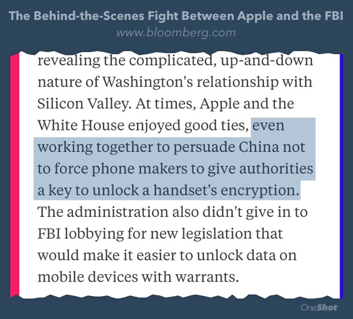 Apple & White House worked together to prevent China requiring encryption keys to iOS  https://t.co/Yha1i1RyPk https://t.co/UMzVI28uDK