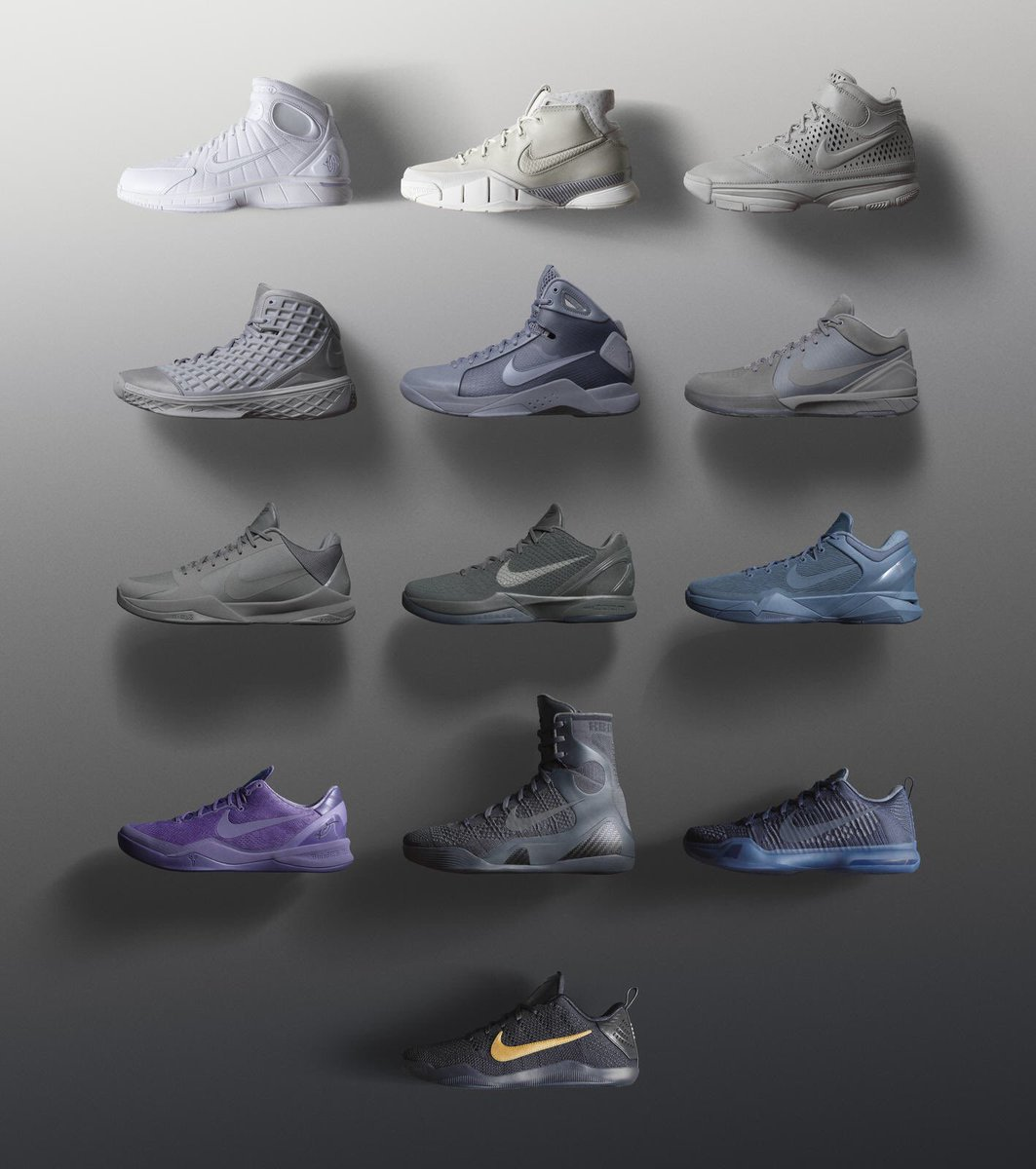 Black Mamba Pack fades from white to black as Kobe's final game nears.  Rollout begins w/ Huarache 2K4 on 3/22 https://t.co/yBQ1tPAgg7