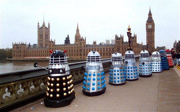 Being surrounded by a bunch of Daleks is #SaferThanATrumpRally. https://t.co/HsEz6V8gDB