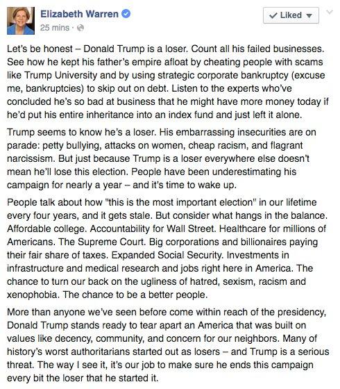 .@ElizabethForMA is right—@realDonaldTrump's a loser & hatred will set progress back decades https://t.co/fCxwFaANzS https://t.co/9sI8y5JOE7