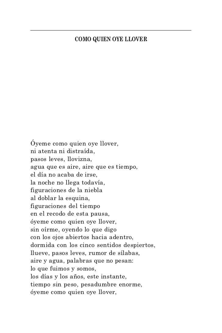 """""""Óyeme como quien oye llover,  ni atenta ni distraída…"""" —Octavio Paz #DíaMundialDeLaPoesía https://t.co/HoVHzlXTwN"""