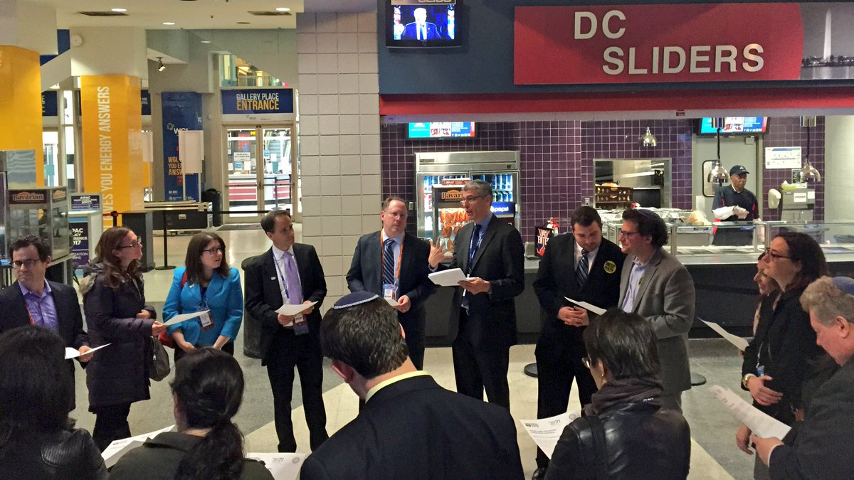 A group of Reform rabbis and lay leaders gather for a text study outside @AIPAC's plenary as Donald Trump speaks. https://t.co/8GHcPq6f9G