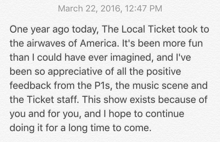 One year ago today... #LocalTicket