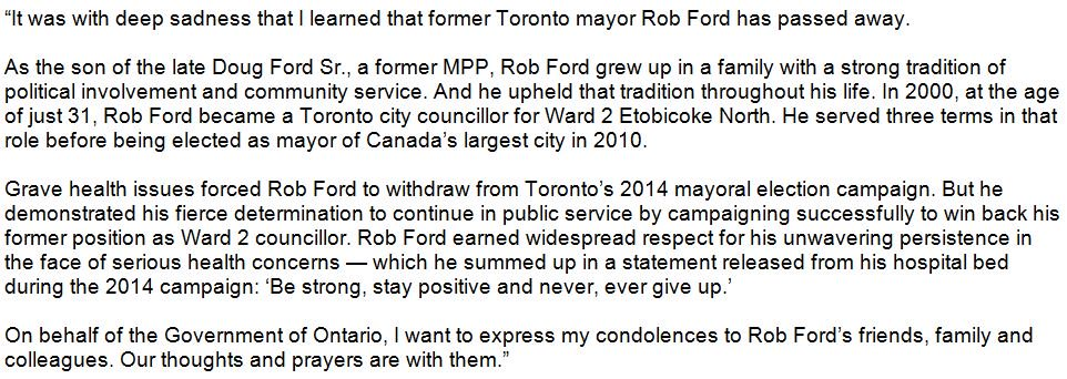 Statement from Ontario Premier Kathleen Wynne on passing of Rob Ford. https://t.co/bSooipSOKP