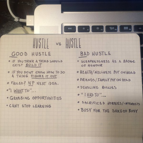 Love this.  Good Hustle v Bad Hustle. #startups #productivity https://t.co/uZn9OkGbWF