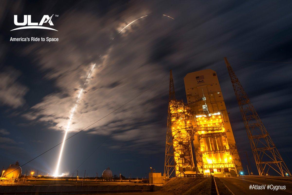 Mission success! ULA's #AtlasV launches @OrbitalATK's #Cygnus on its way to the #ISS #OA6 https://t.co/mVtkGWDdsc https://t.co/ZMLpDUfAiJ