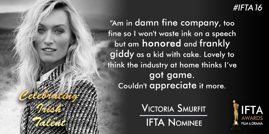 Best Actress in a Supporting Role in Drama Nominee @VictoriaSmurfit of @OnceABC reacts to her nomination #ifta16 https://t.co/WXEQpMLKj4