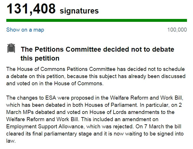 #ESAcuts petition won't be debated again, despite several MPs misunderstanding what they actually voted for. https://t.co/ygolEICa8M