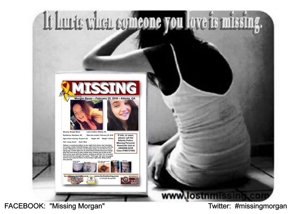 #missingmorgan Morgan Bauer,19 Missing - Atlanta, GA - 2/25/2016 https://t.co/IbUJ4XmH1y