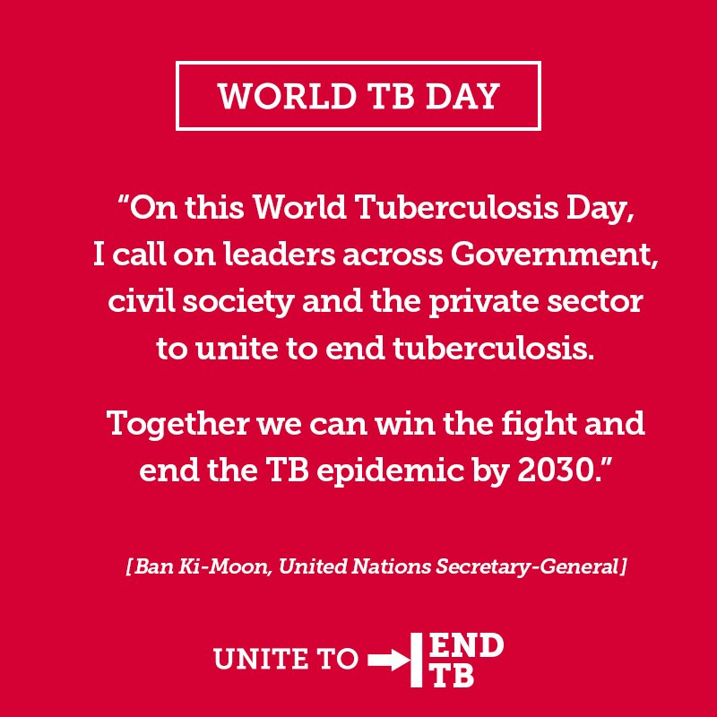 Thanks to @UN SG Ban Ki-Moon for calling on world leaders to #UnitetoEndTB on March 24th #WorldTBDay #tuberculosis https://t.co/5Qvi7Cwijj