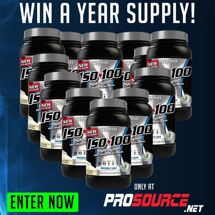 Time's running out! Win a Year Supply of @dymatize ISO 100! Just RT this tweet & click here https://t.co/2rehBm6fQM https://t.co/yrew2JwBa3