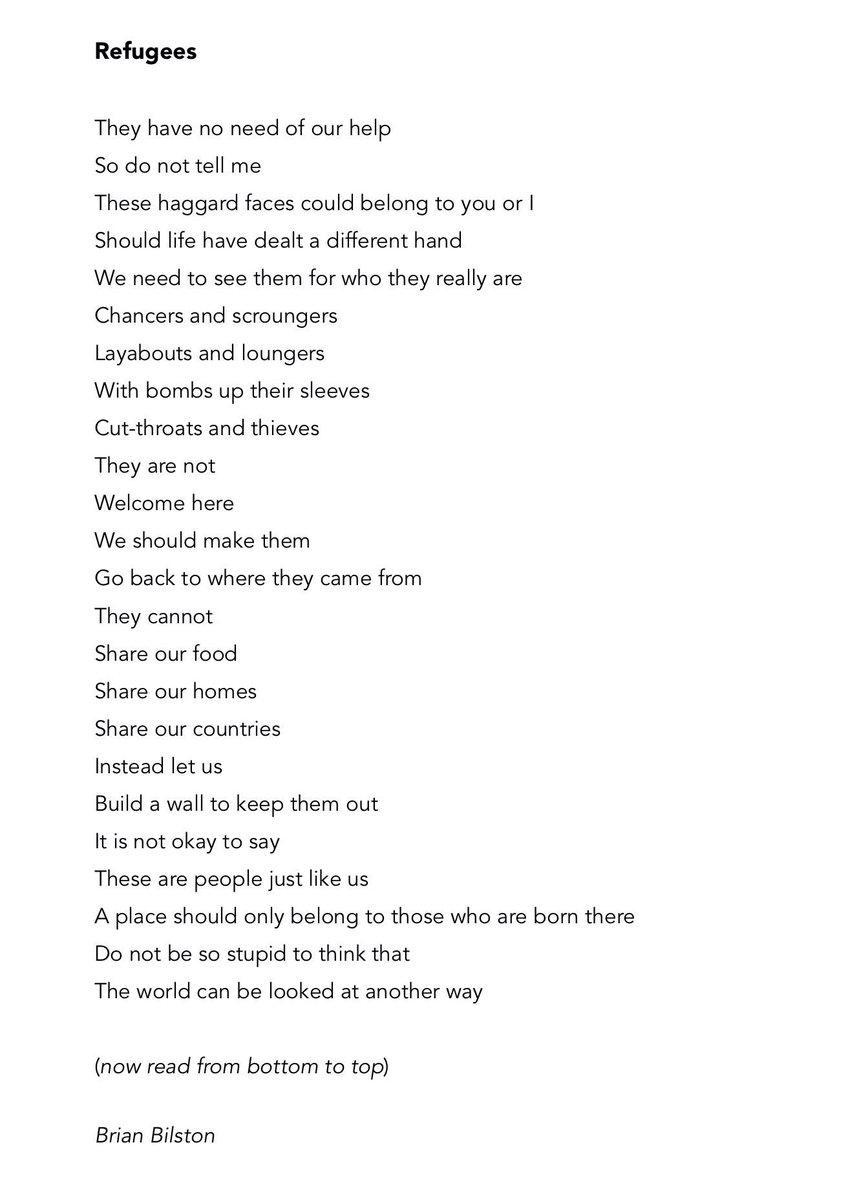 "Excellent, wonderful work from @brian_bilston: Here is a new poem entitled ""Refugees"". Please bear with it. https://t.co/qnURlqbiXy"