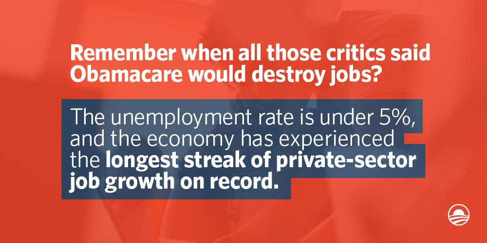 """Looks like #Obamacare wasn't the """"job killer"""" opponents said it'd be. https://t.co/NSpkTwdXy5"""
