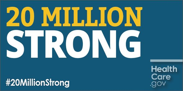 Historic progress: 20M Americans have gained health coverage thanks to the #ACA. #20MillionStrong https://t.co/Vb673BbC0k