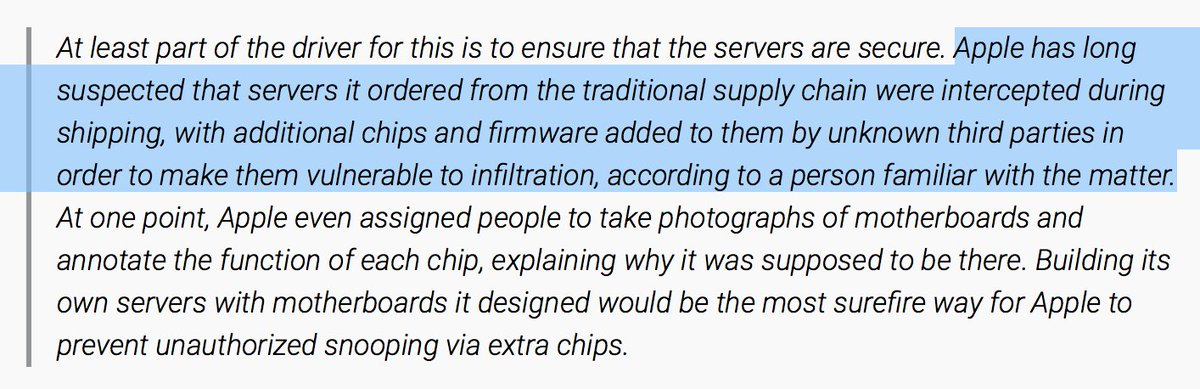 As Apple builds out its cloud infra, they're concerned about server hardware interdiction.  https://t.co/J9GfYdCANO https://t.co/BZ131ok9vv