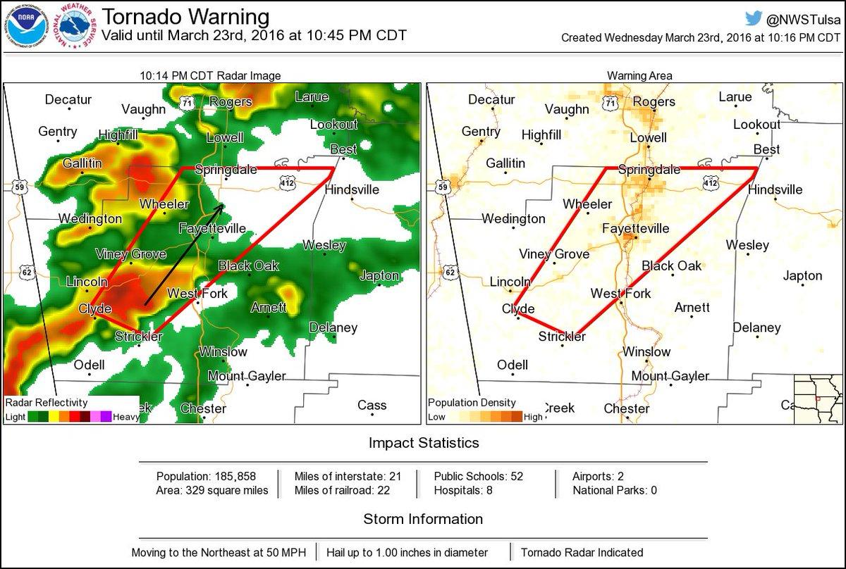 ⚠ tornado warning including fayetteville ar, springdale ar ...