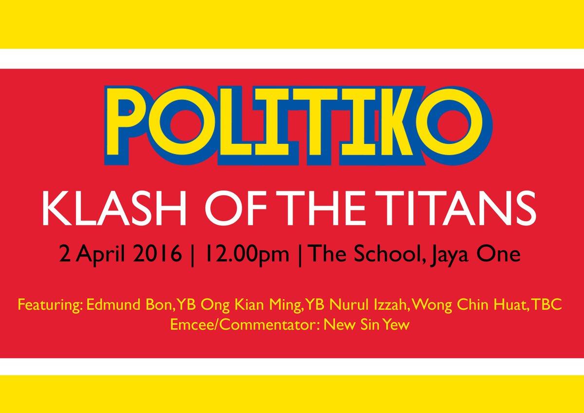 #POLITIKO Klash of the Titans! Players: @edmundbon @n_izzah @imokman @chinhuatw ! @S_Y_New https://t.co/nq6HXRBj3U https://t.co/Xxn5igqspV