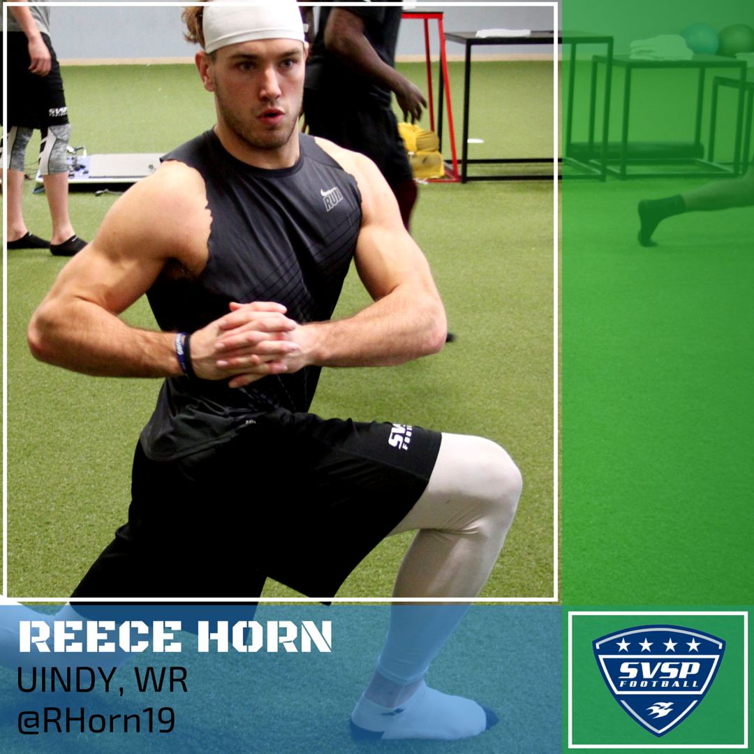 .@RHorn19 takes the field at @UIndyAthletics today for Pro Day. RT to wish Reece good luck! #AlphaDogs https://t.co/RZDVhsbv4Y
