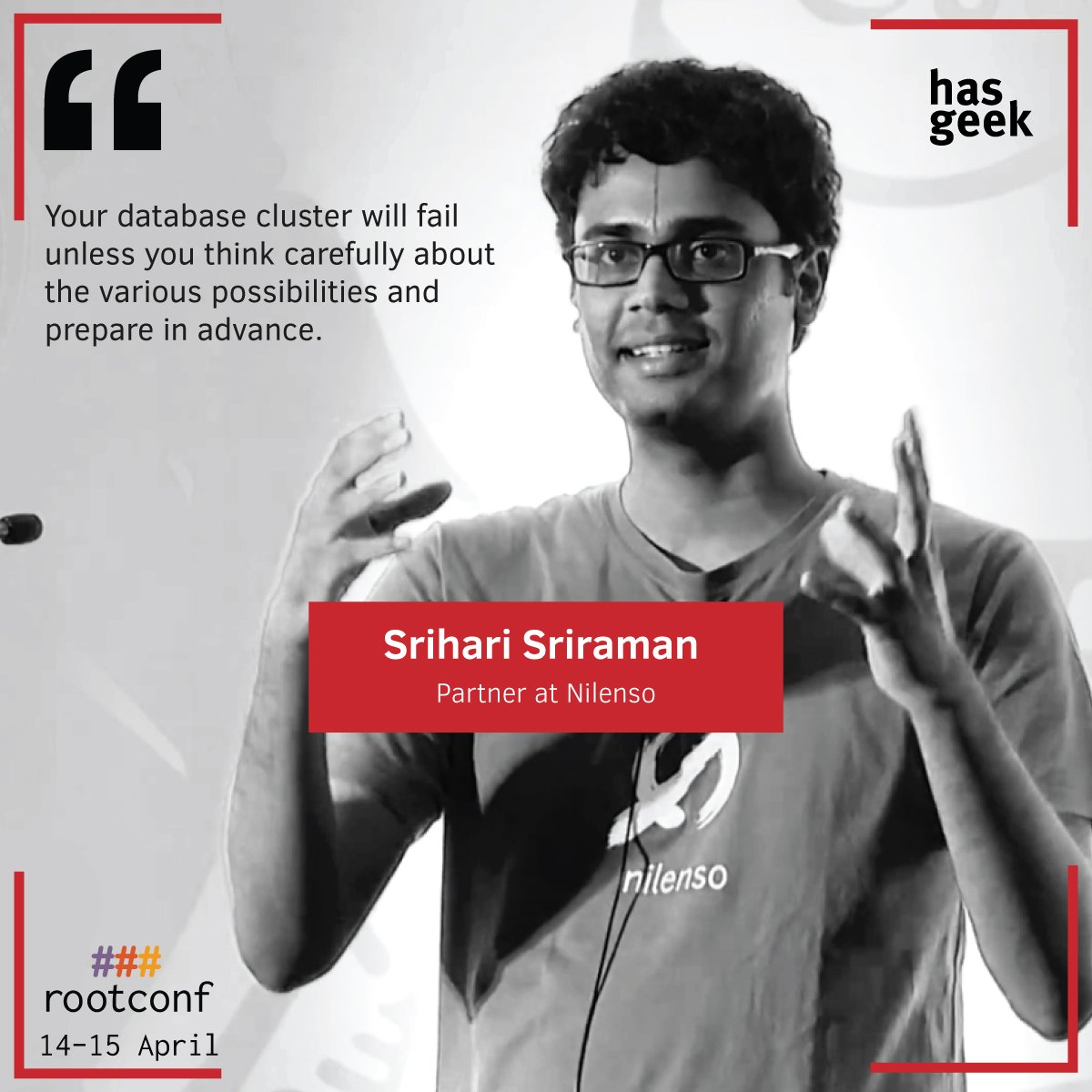 Catch @SrihariSriraman talk about building  postgres clusters at @rootconf   Full schedule: https://t.co/CyPV6k7NMM https://t.co/p39cImH25b