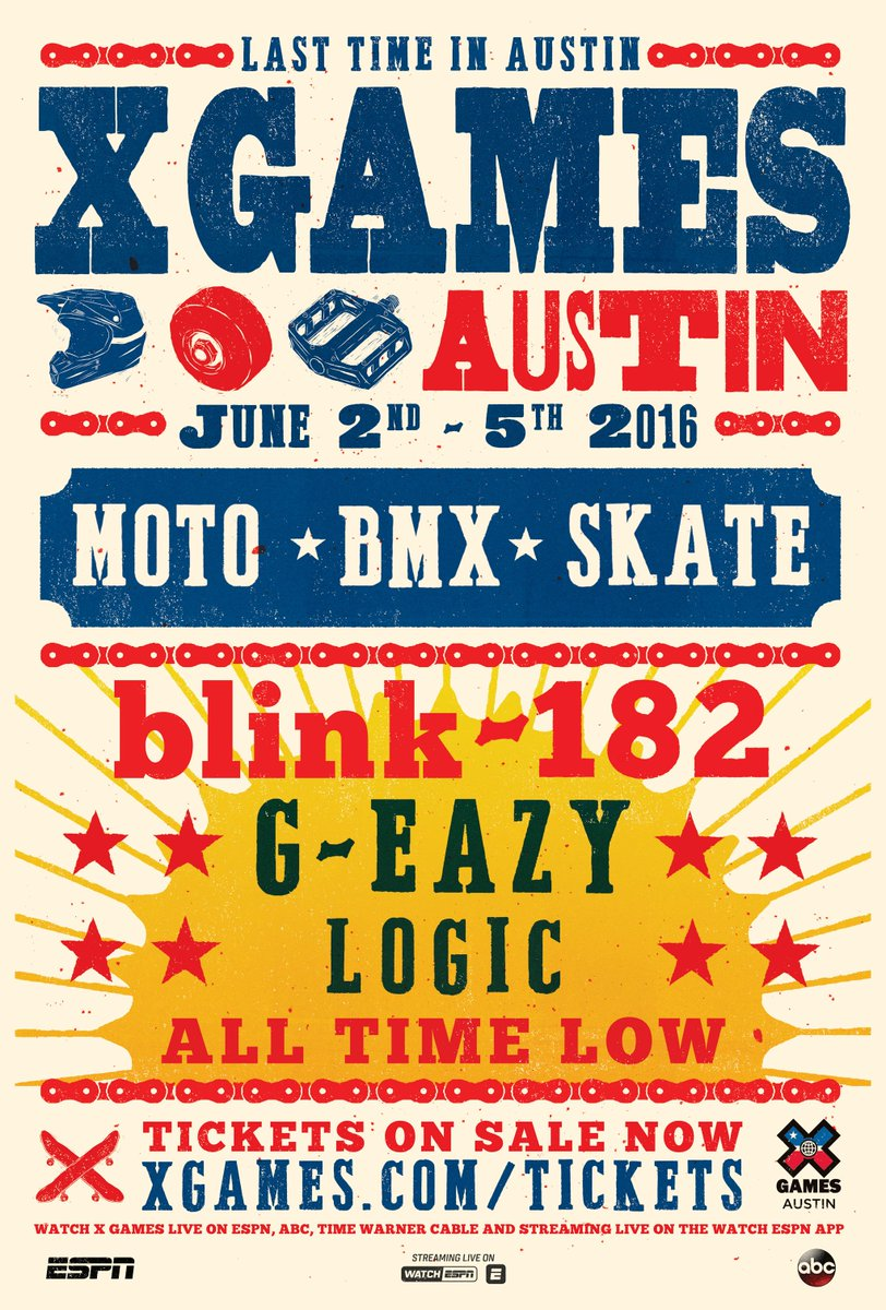 #XGames Austin Music • All Time Low • blink-182 • G-Eazy • Logic  It's goin' down June 2-5! https://t.co/lxwV9h8DRS