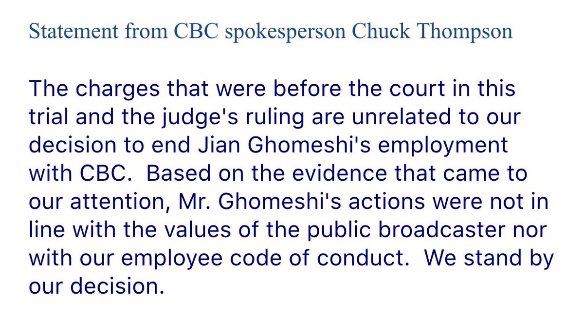 Statement from the CBC following the #Ghomeshi verdict: https://t.co/BTURI8tymm