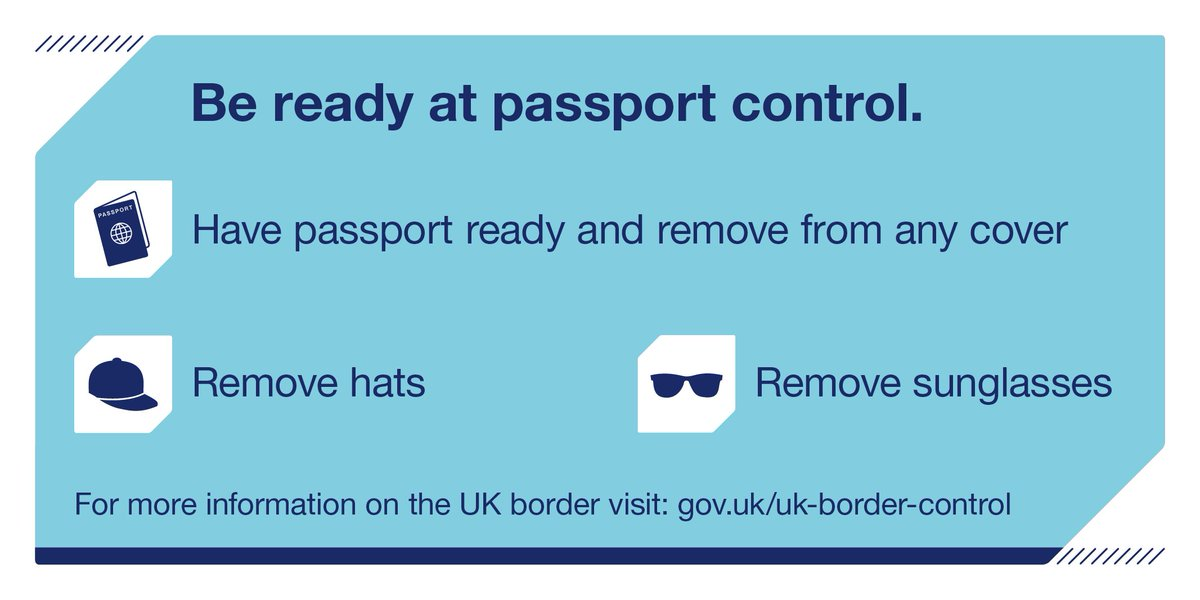 Get through border control faster. Have your documents ready and remove hats & sunglasses: