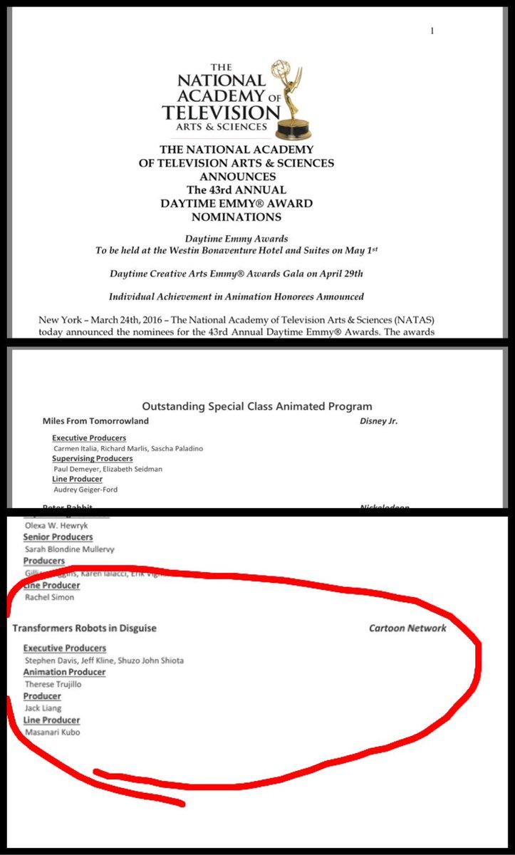 PPIが制作している「トランスフォーマーアドベンチャー」がデイタイムエミー賞のアニメーション特別部門賞にノミネートされました!テレビ番組のアカデミー賞に該当する名誉ある賞です!YAY!!!! https://t.co/Bm2nfeSMW6