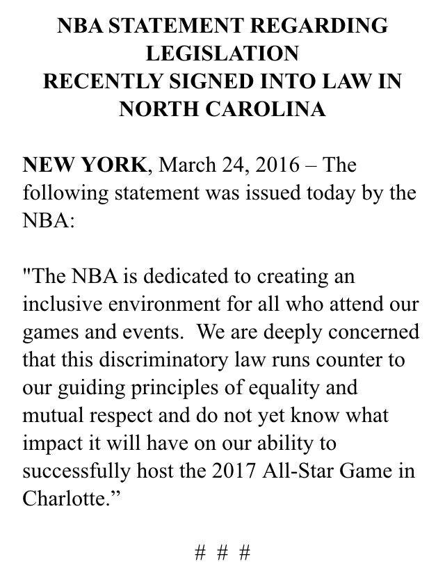 #NBA statement on North Carolina legislation https://t.co/Znf4yDa5zH