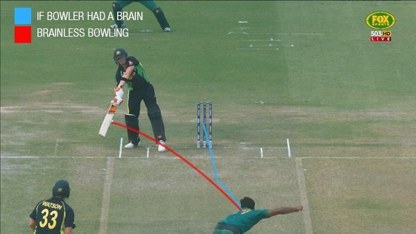 Wahab could have bowled it to the Fielder in point if the batsman was standing there