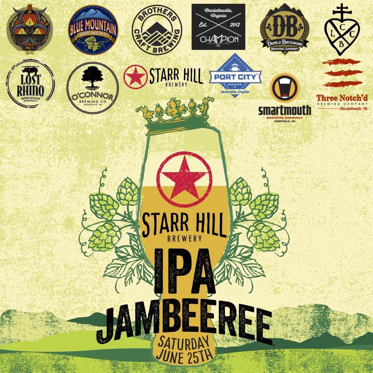 Announcing initial Brewery Lineup at IPA #JAMBEEREE beer fest celebrating IPAs in VA June 25 https://t.co/vGca4T1EwB https://t.co/B4TfCo7VCf