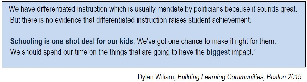 Differentiated instruction - less effective than we assume. #edchat  @dylanwiliam 's keynote https://t.co/GBhRz2wnZ5