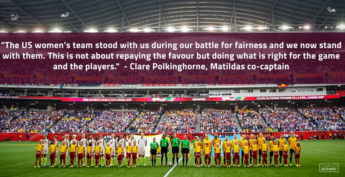 Matildas pledge support for USWNT: https://t.co/2lAqOOwbHW https://t.co/x3RrqDkIPk