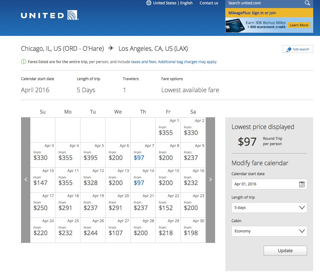 RT @airfarewatchdog: Chicago to/from LAX $96 RT nonstop UA these & other dates