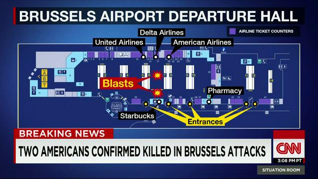 Map Shows Location Of Explosions In Brussels Airport Departure - Brussels airport map