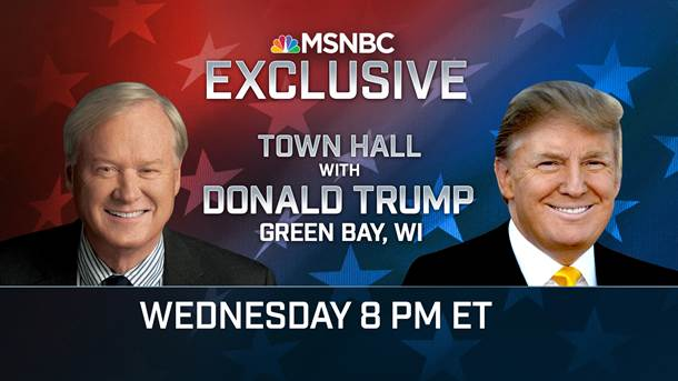JUST ANNOUNCED: @hardball_chris moderates an MSNBC Town Hall w/ Donald Trump in Wisconsin. Airs Wed 3/30 at 8pm ET https://t.co/mRzZ8AIyoI