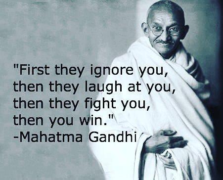 Prima ti ignorano, poi ti deridono, poi to combattono. Poi vinci. 🙏🏻#mahatmagandhi #gandhi #quotes #inspiration #mo… https://t.co/VgjLuikQC9