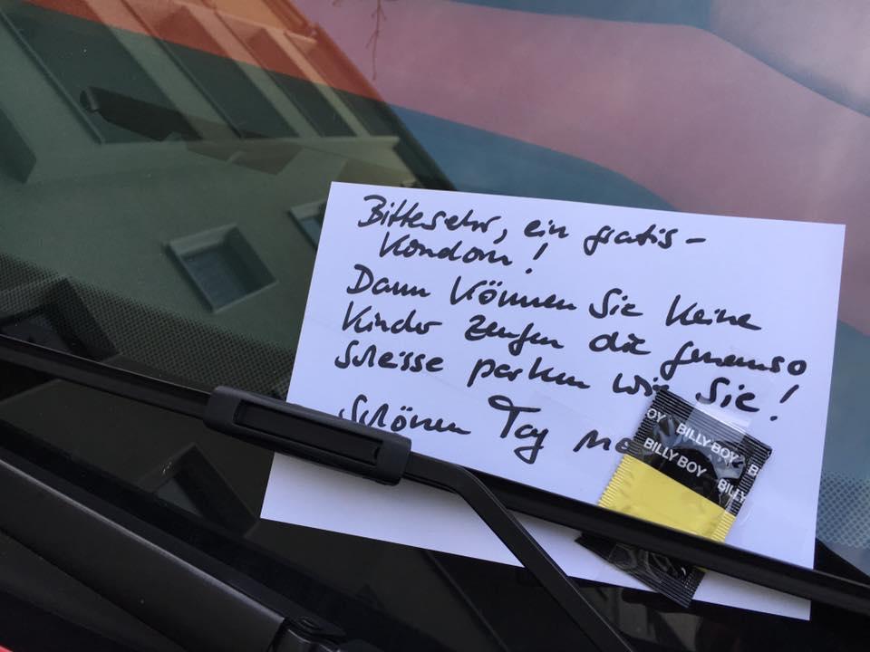 Hihi... Diese Botschaft bekam ein Park-Idiot in der Südstadt ans Auto! Das ist #Koeln https://t.co/Wowh4RqVU2