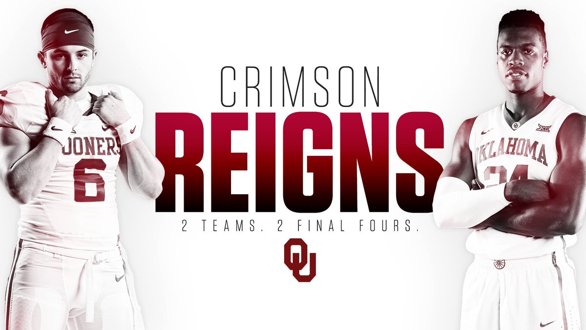 Crimson reigns! OU the only school to send football to the CFP and men's basketball to the #FinalFour #TheresOnlyOne https://t.co/jmdJwnyk3a
